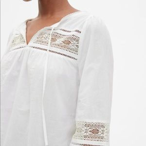 NWT GAP Lace-Insert Split-Neck Peasant Blouse XXL
